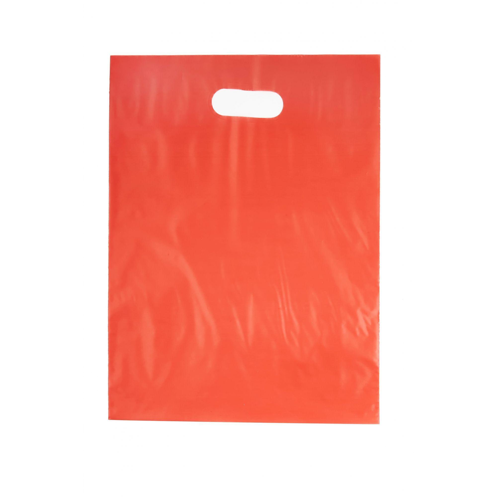 Sacola Plástica 30x40 Vermelha - Alça Boca de Palhaço