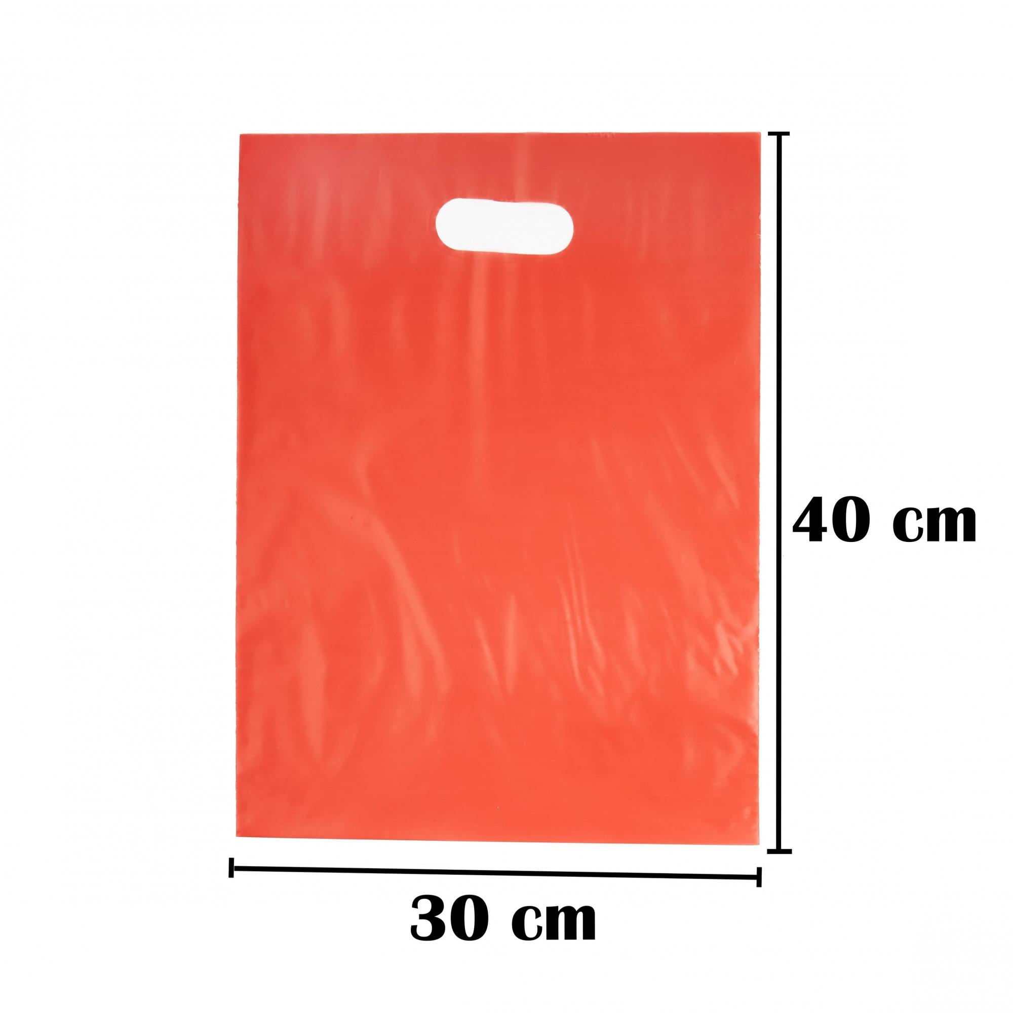 Sacola Plástica 30x40 Vermelha - Alça Boca de Palhaço - 50 Unidades