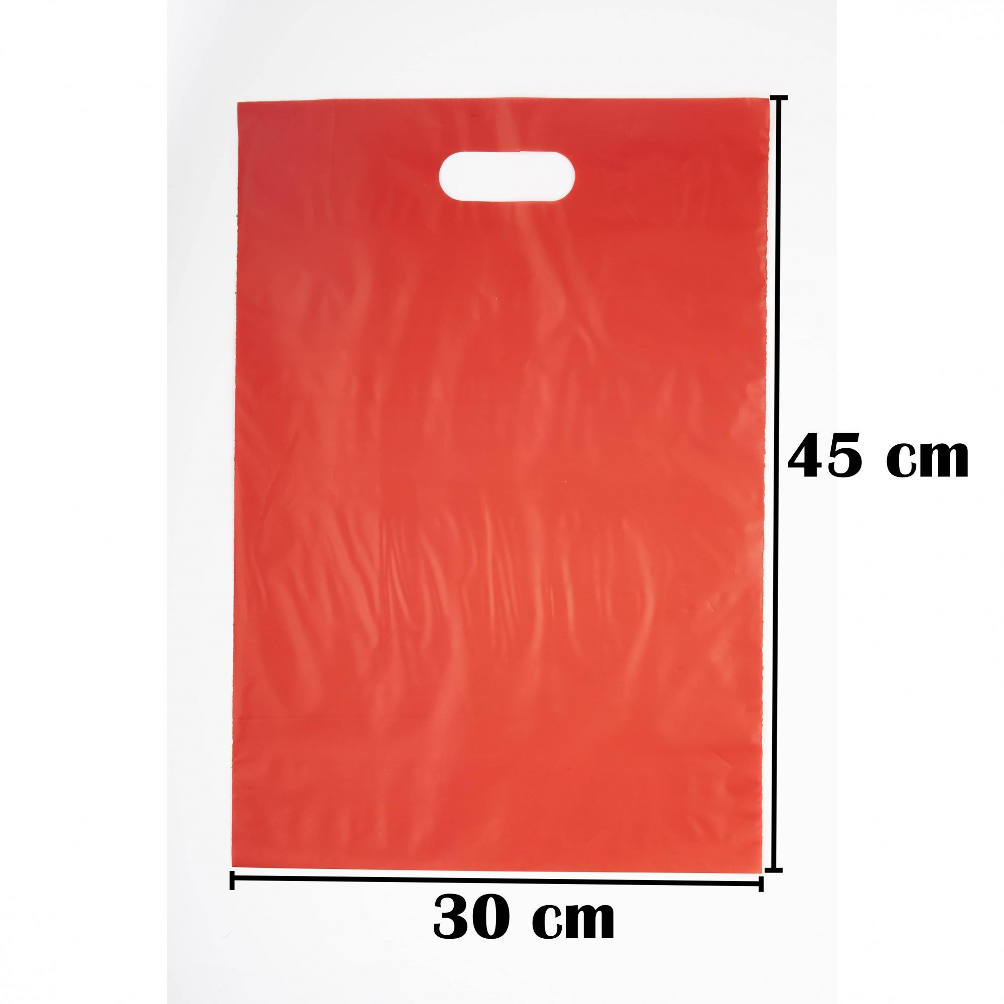 Sacola Plástica 30x45 Vermelha Alça Boca de Palhaço 250 Unidades