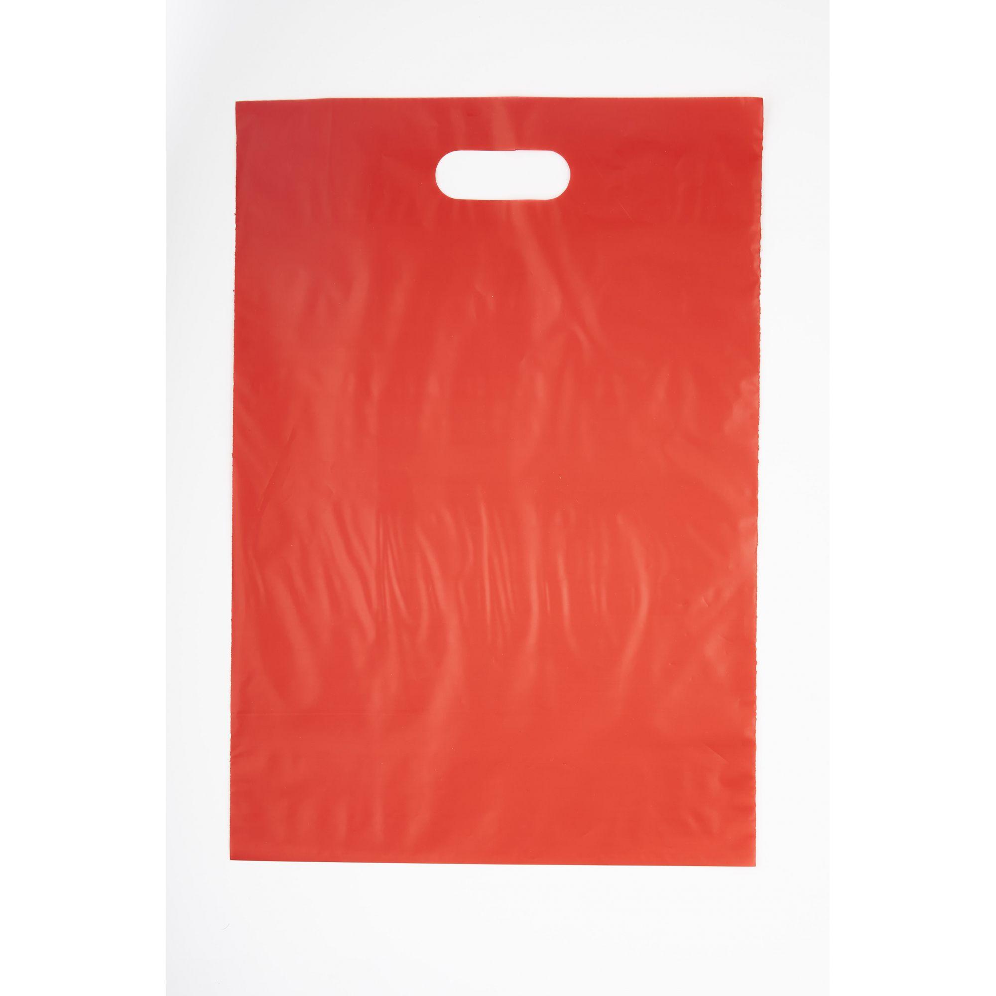 Sacola Plástica 30x45 Vermelha - Alça Boca de Palhaço