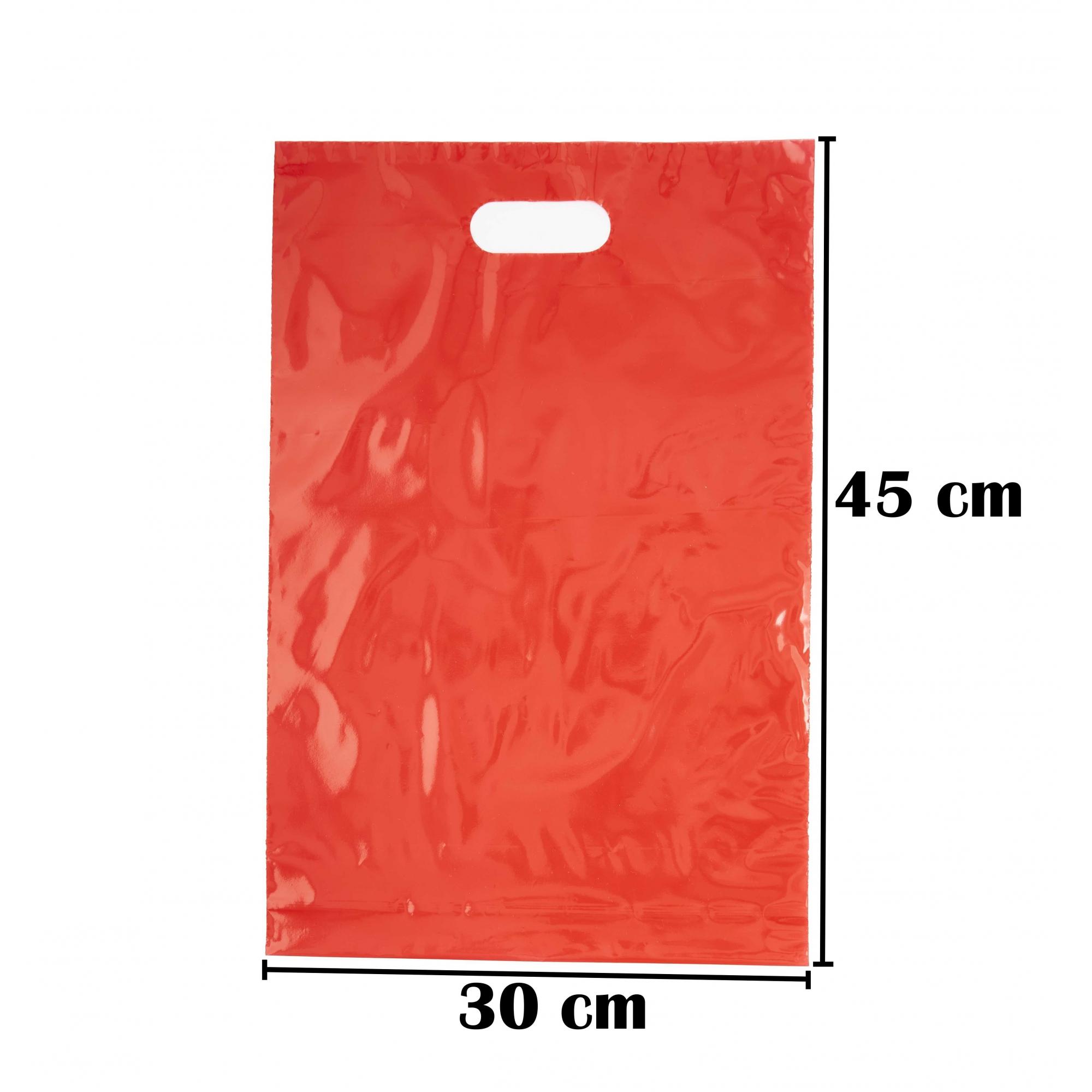 Sacola Plástica 30x45 Vermelha Com Brilho Alça Boca de Palhaço 50 Unidades