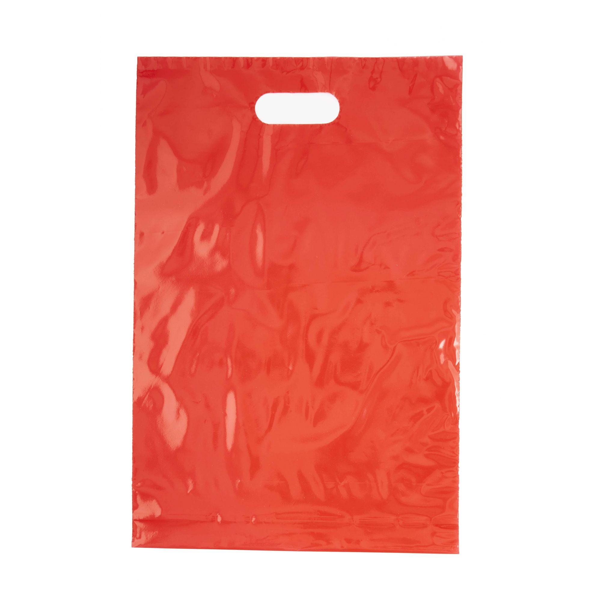 Sacola Plástica 30x45 Vermelha Com Brilho - Alça Boca de Palhaço