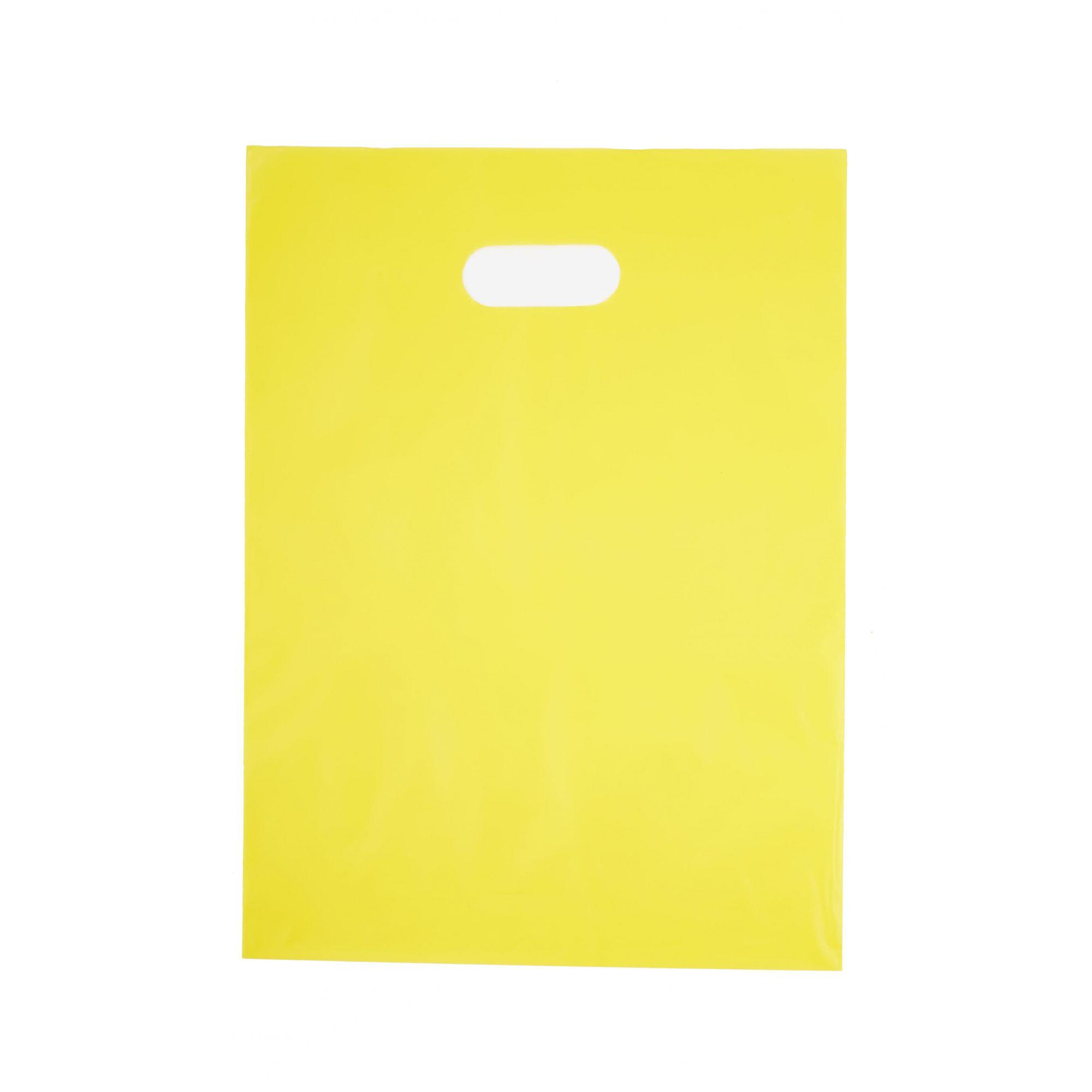 Sacola Plástica 35x44 Amarela - Alça Boca de Palhaço