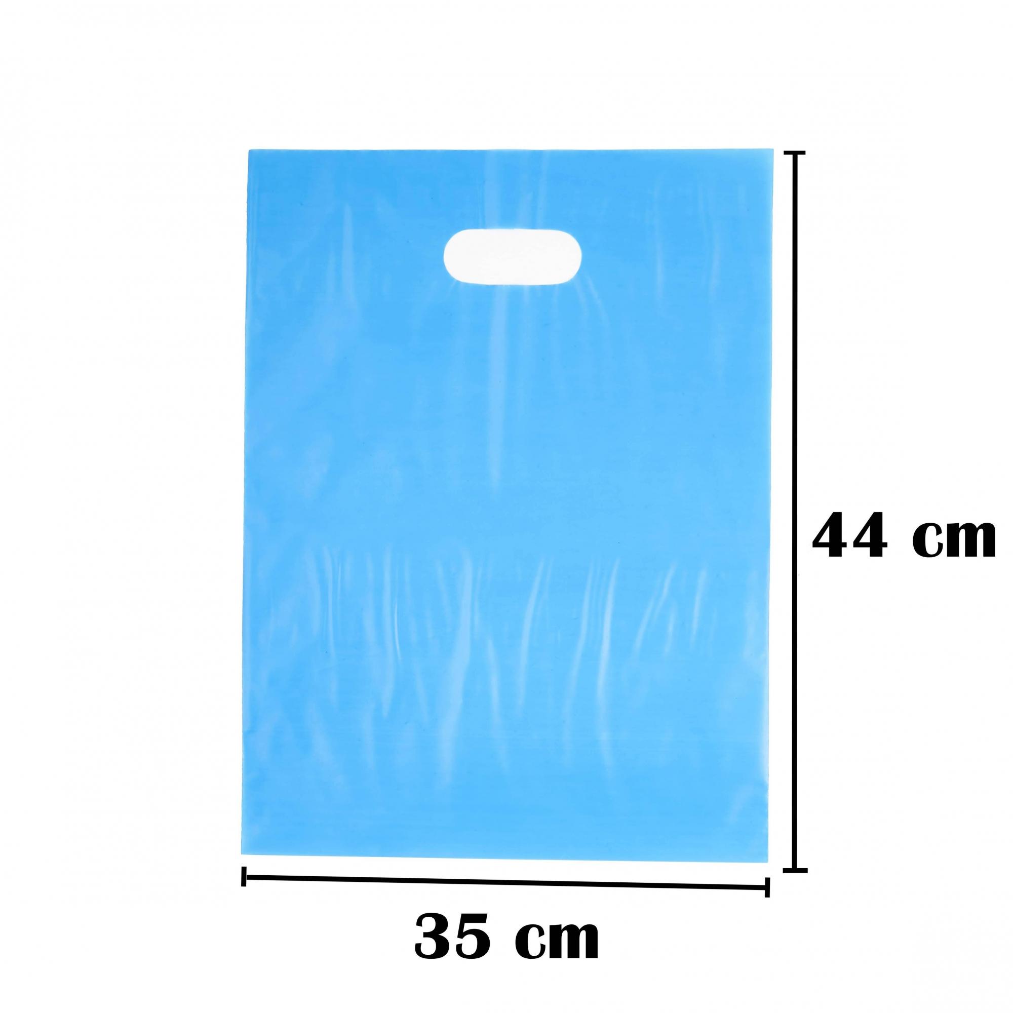 Sacola Plástica 35x44 Azul Alça Boca de Palhaço 50 Unidades