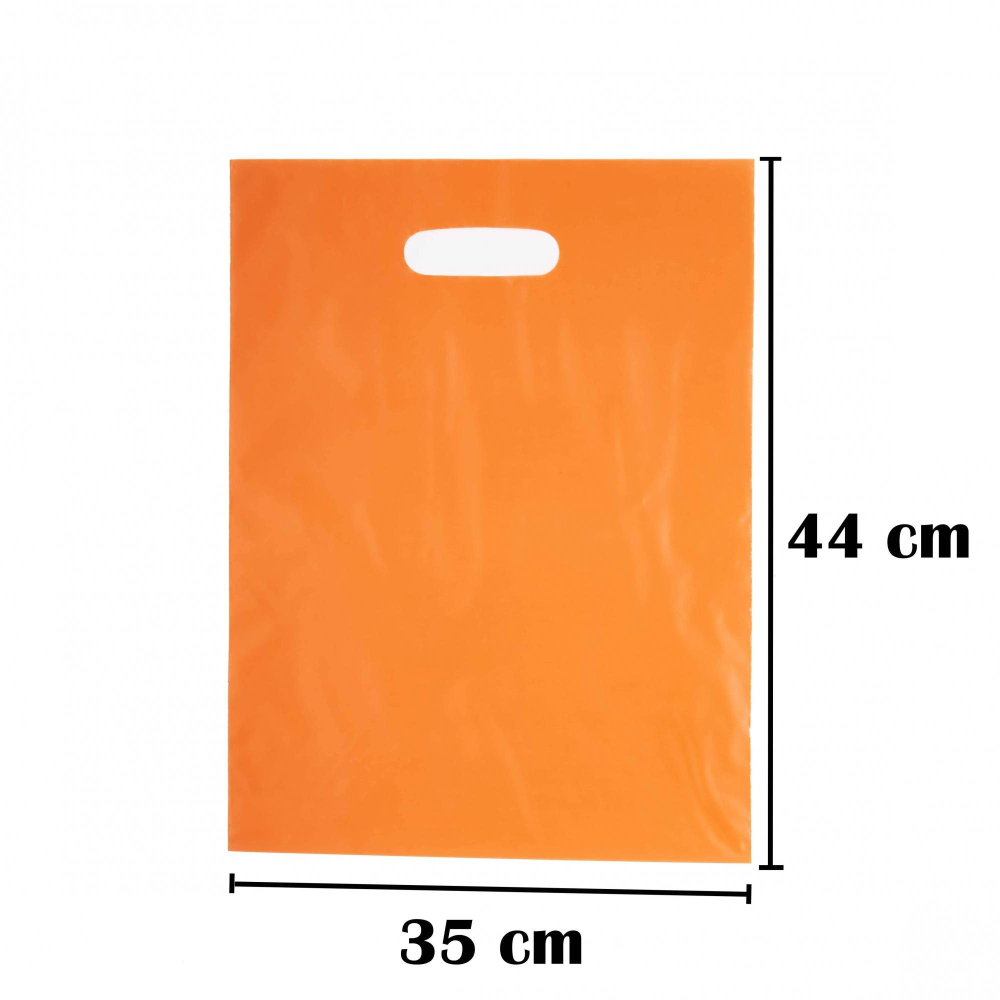 Sacola Plástica 35x44 Laranja Alça Boca de Palhaço 50 Unidades