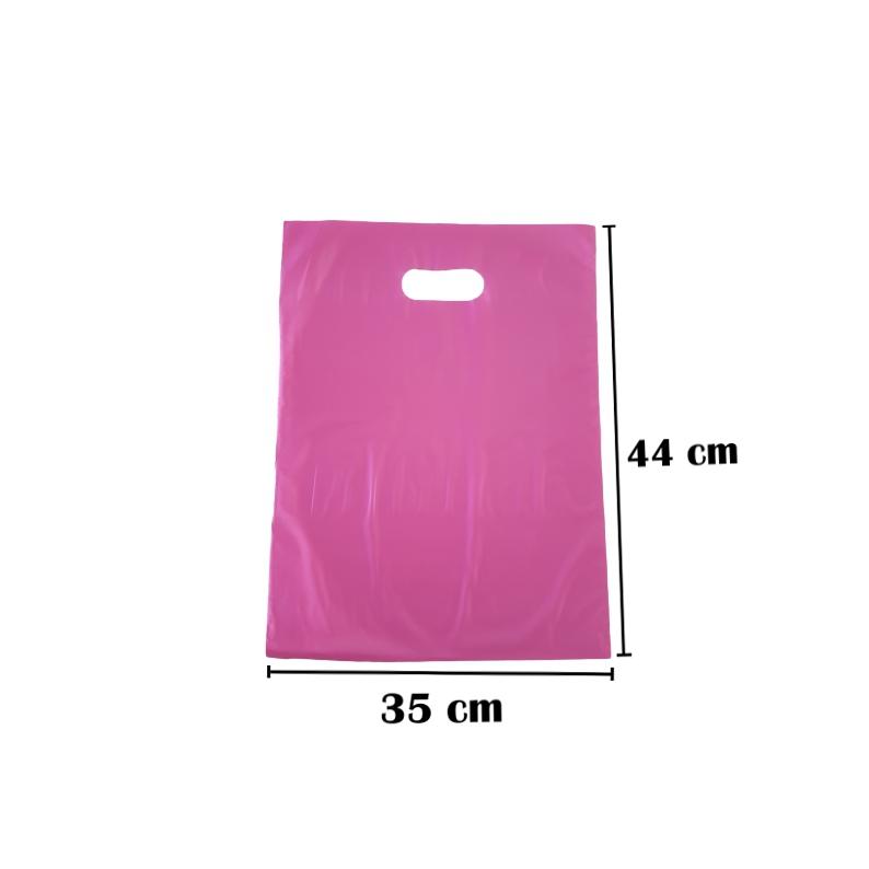 Sacola Plástica 35x44 Rosa Alça Boca de Palhaço 100 Unidades