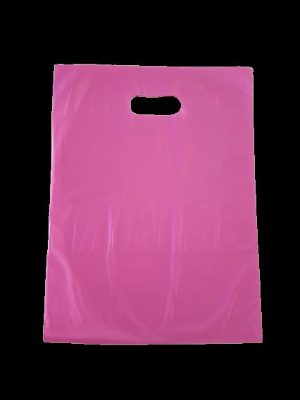 Sacola Plástica 35x44 Rosa - Alça Boca de Palhaço