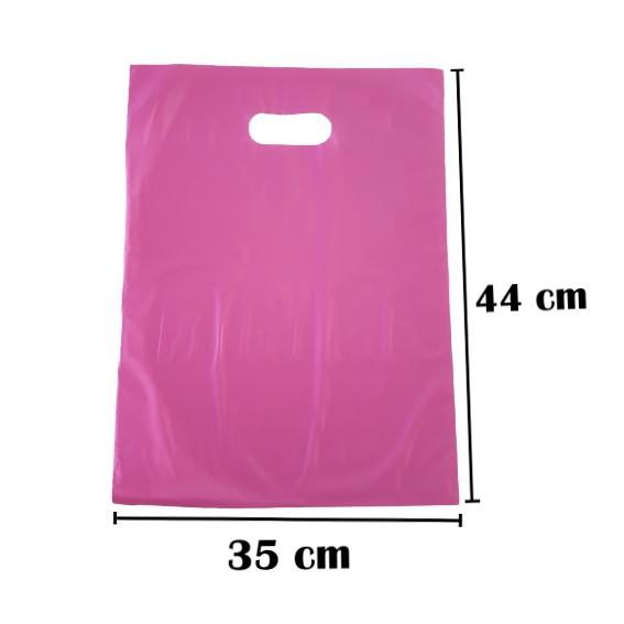 Sacola Plástica 35x44 Rosa Alça Boca de Palhaço 50 Unidades