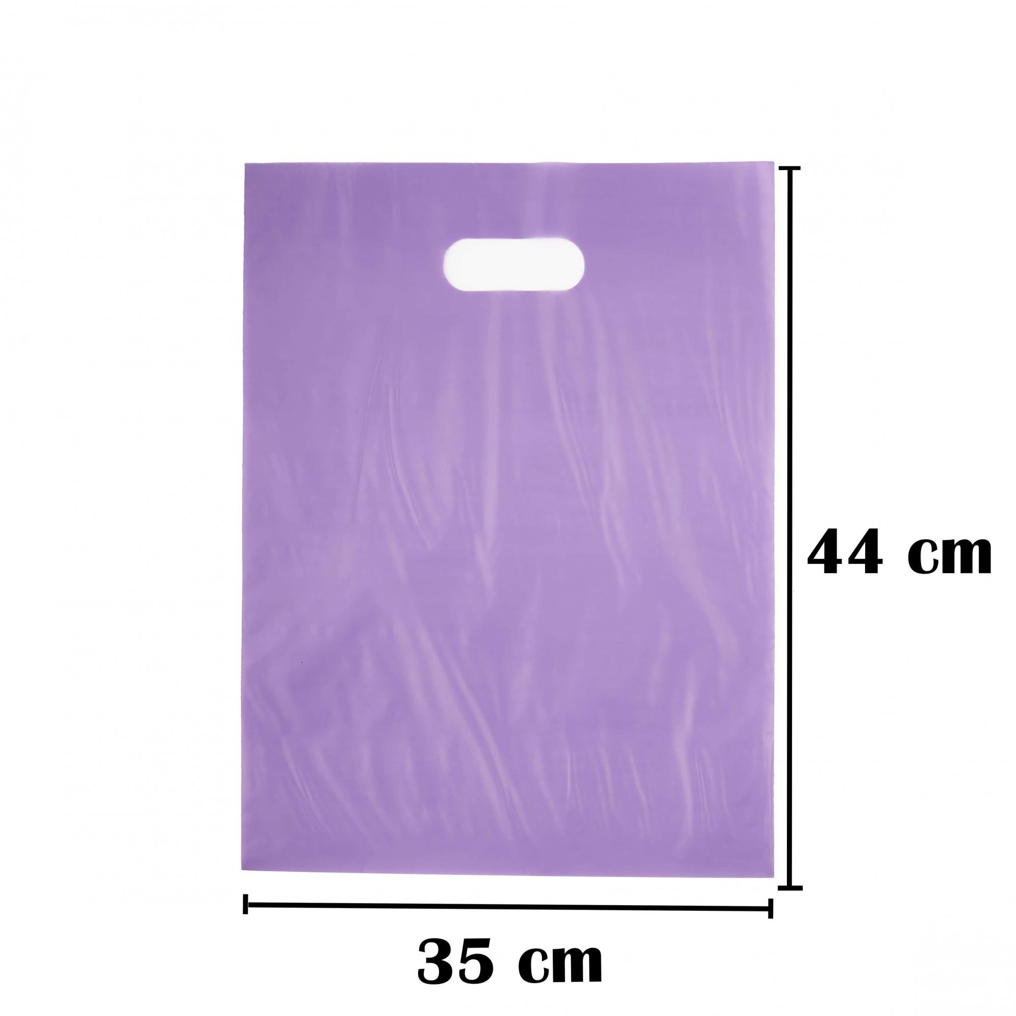 Sacola Plástica 35x44 Roxa Alça Boca de Palhaço 50 Unidades