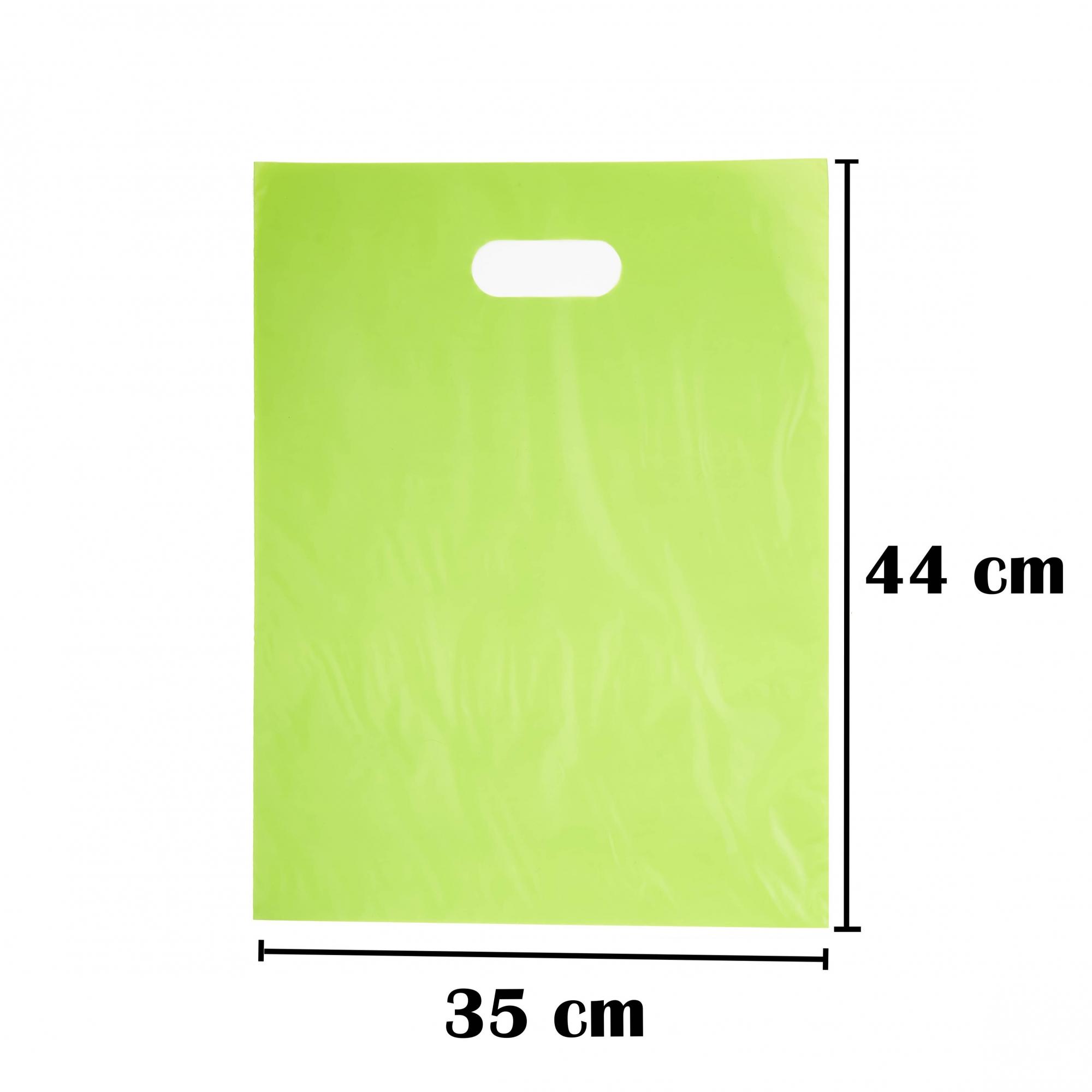 Sacola Plástica 35x44 Verde Alça Boca de Palhaço 100 Unidades