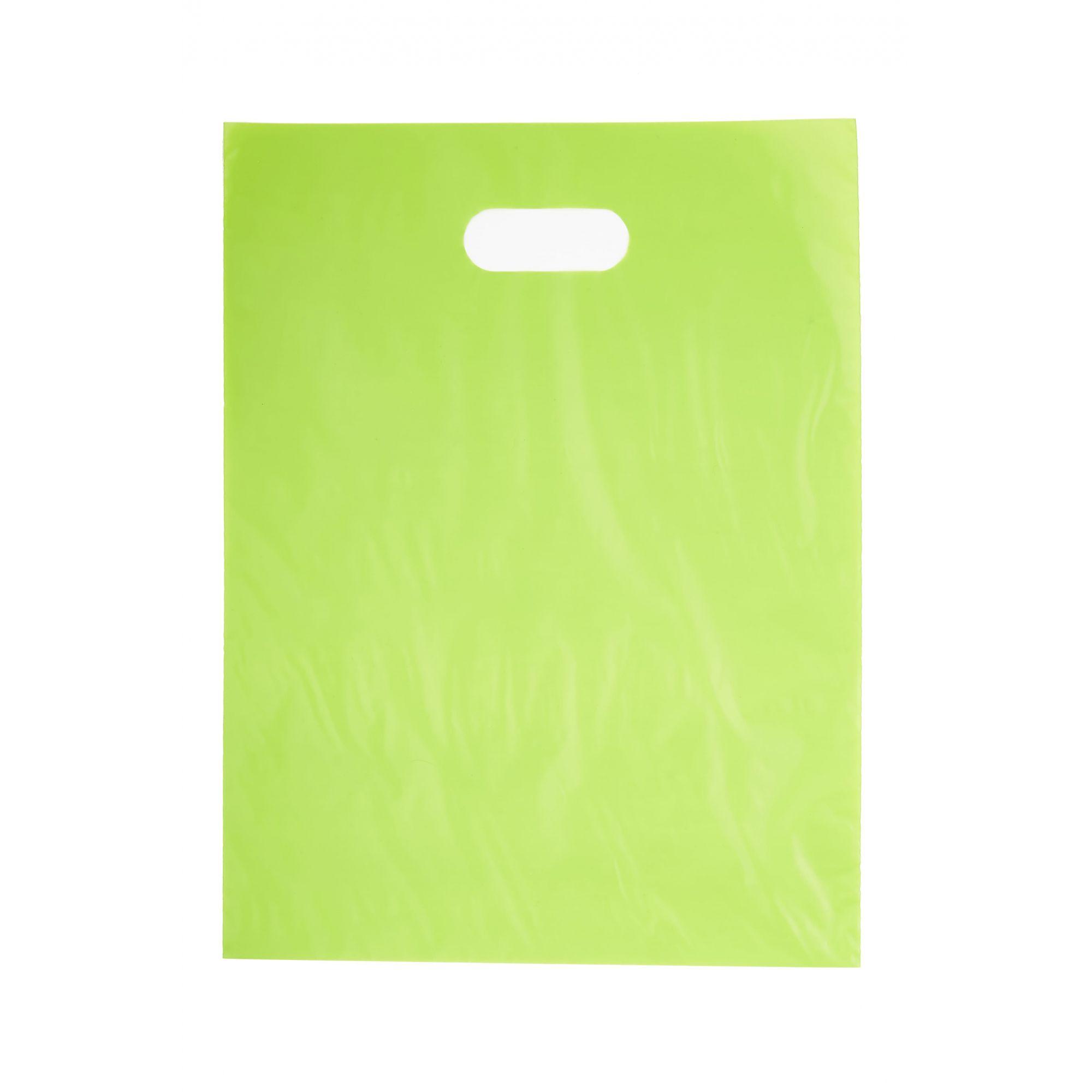 Sacola Plástica 35x44 Verde - Alça Boca de Palhaço