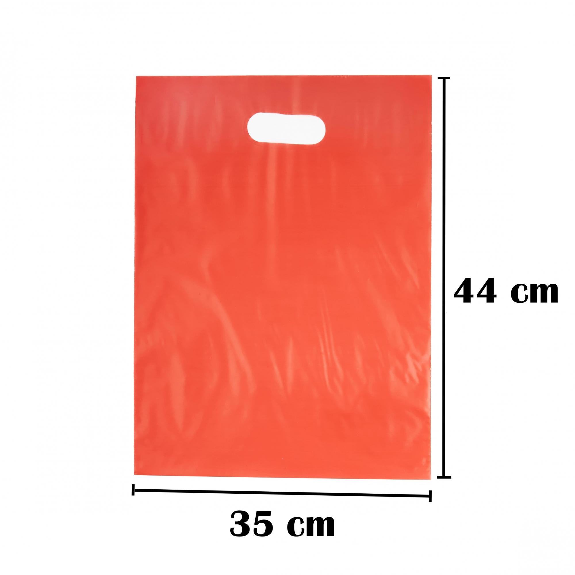Sacola Plástica 35x44 Vermelha Alça Boca de Palhaço 100 Unidades