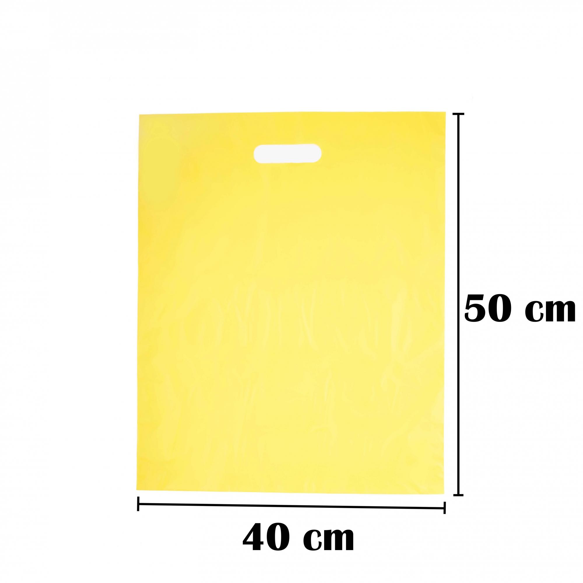 Sacola Plástica 40x50 Amarela Alça Boca de Palhaço 50 Unidades
