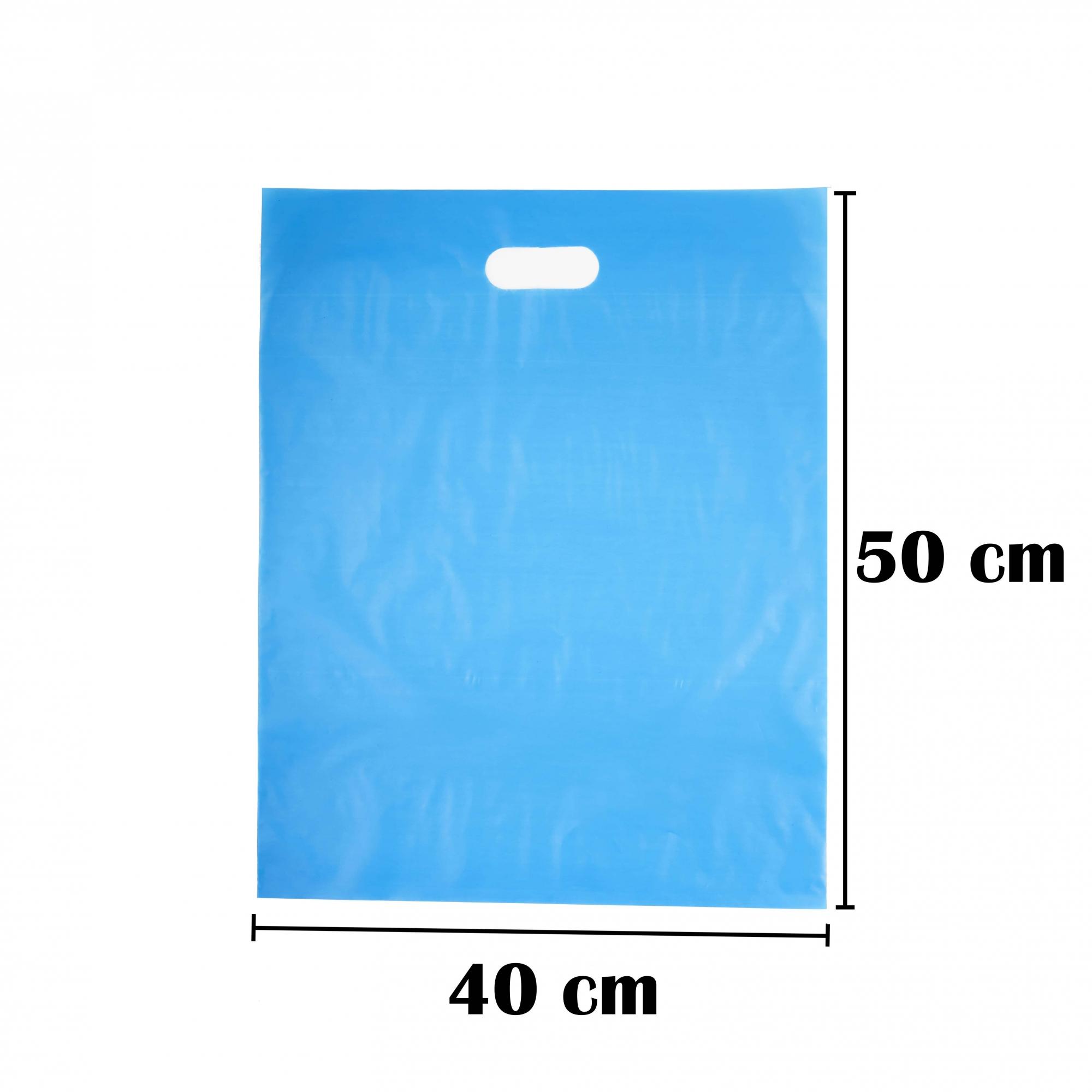 Sacola Plástica 40x50 Azul Alça Boca de Palhaço 50 Unidades