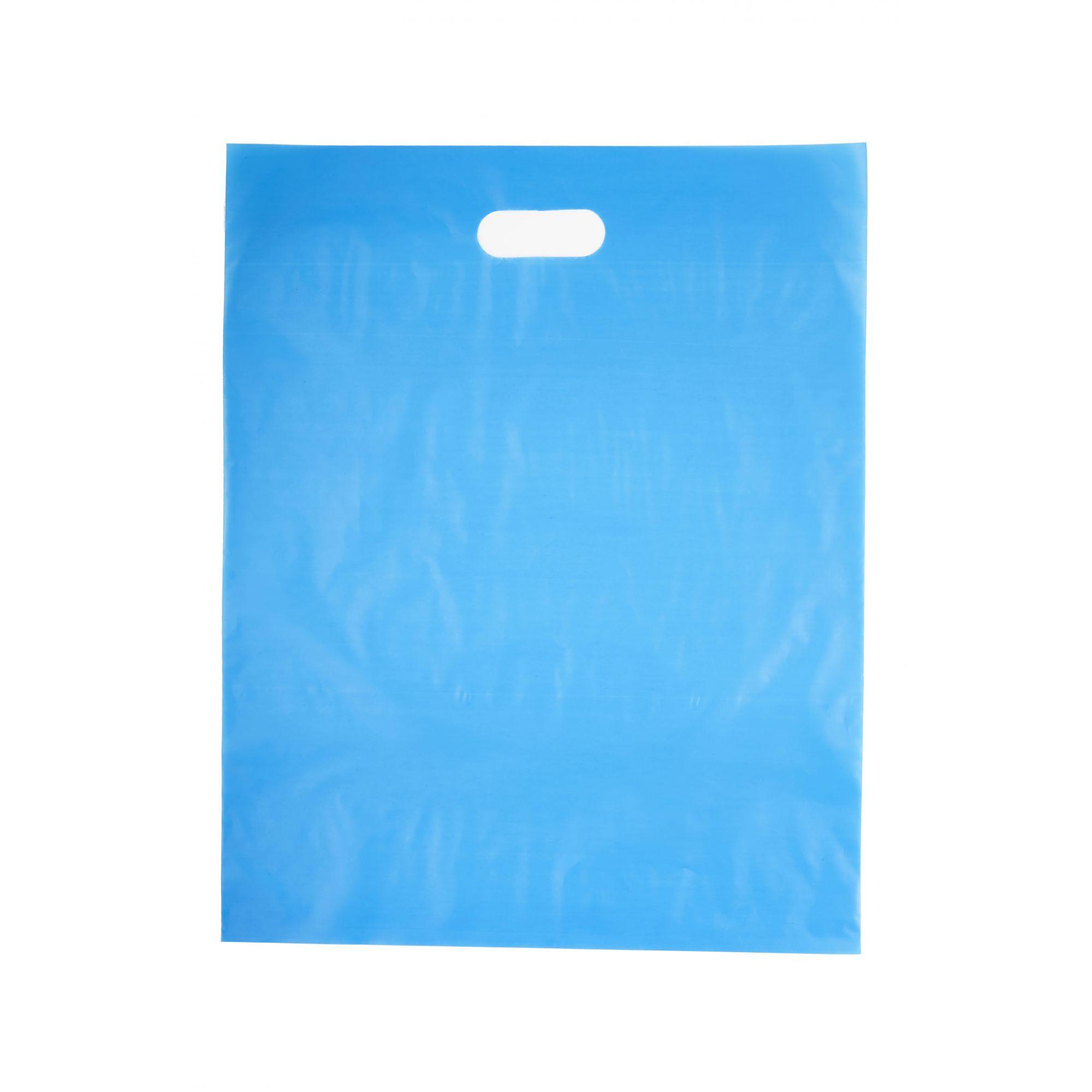 Sacola Plástica 40x50 Azul - Alça Boca de Palhaço