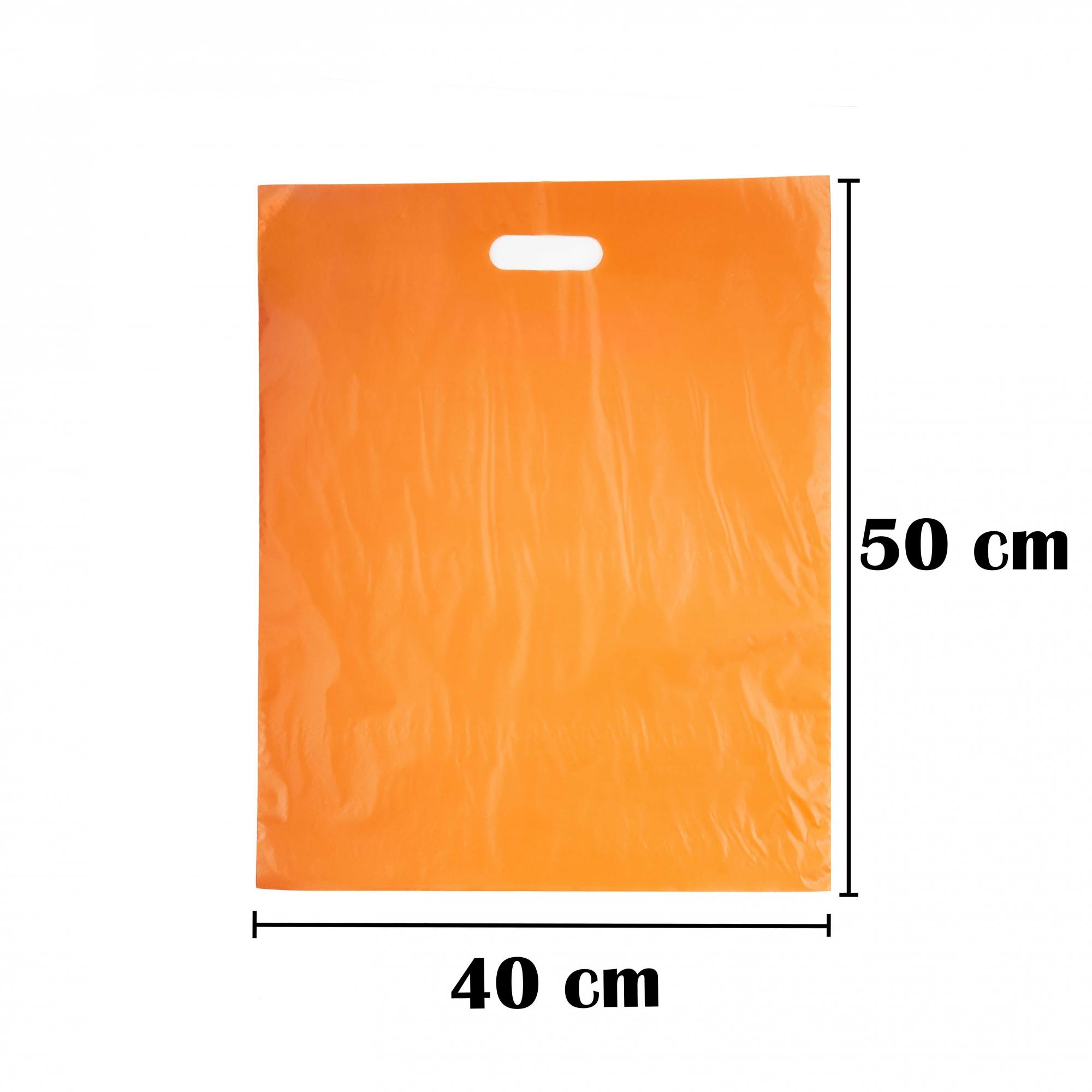 Sacola Plástica 40x50 Laranja Alça Boca de Palhaço 50 Unidades
