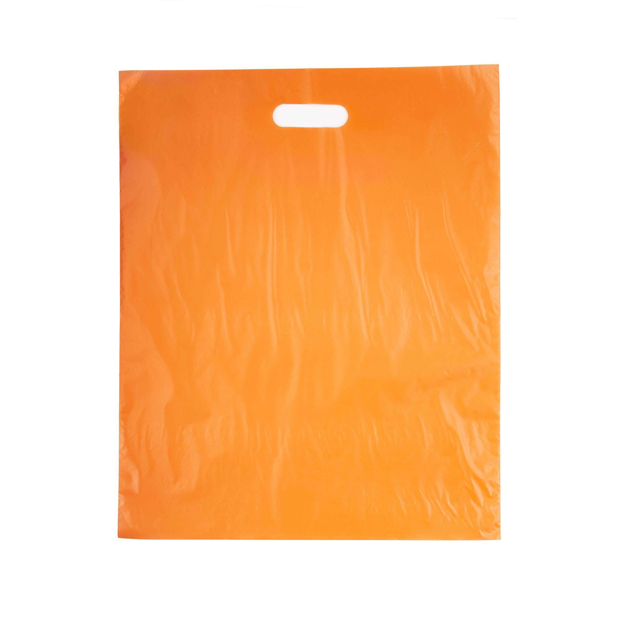 Sacola Plástica 40x50 Laranja - Alça Boca de Palhaço