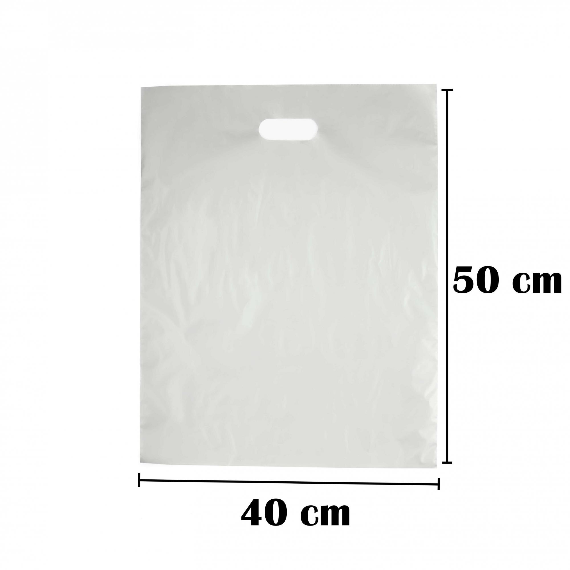 Sacola Plástica 40x50 Prata Alça Boca de Palhaço 100 Unidades