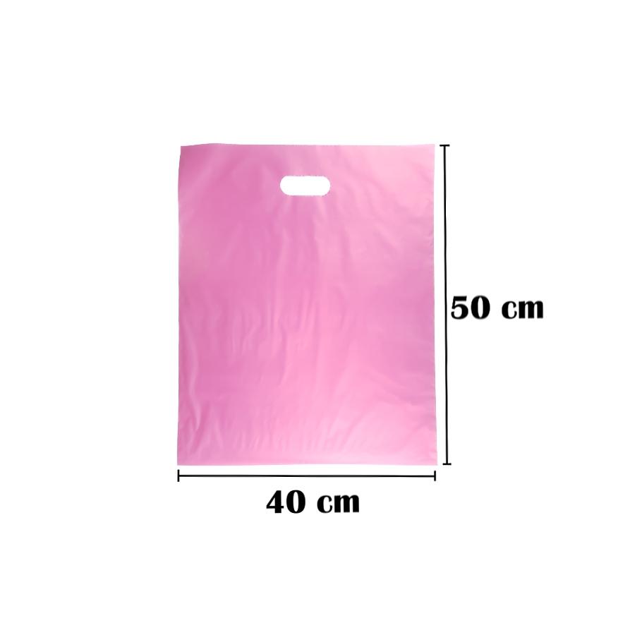 Sacola Plástica 40x50 Rosa Alça Boca de Palhaço 100 Unidades