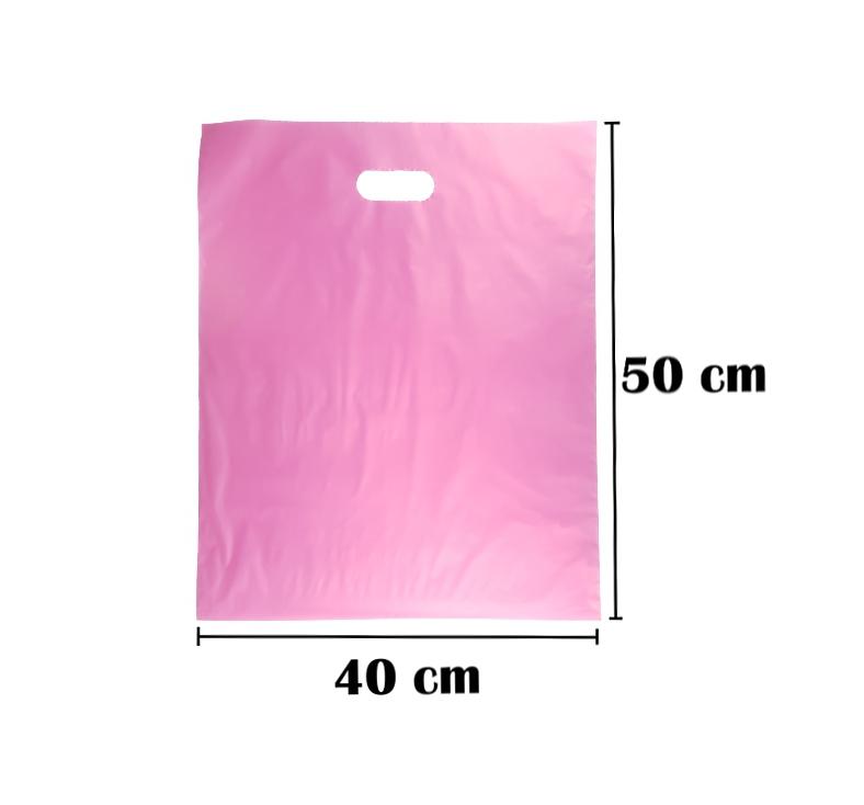 Sacola Plástica 40x50 Rosa Alça Boca de Palhaço 50 Unidades