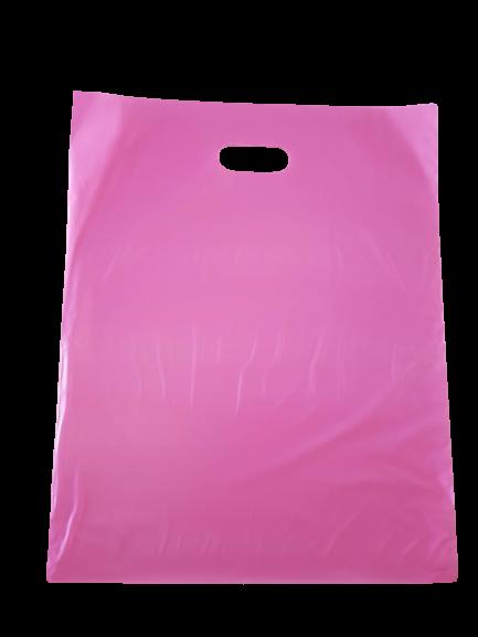 Sacola Plástica 40x50 Rosa - Alça Boca de Palhaço