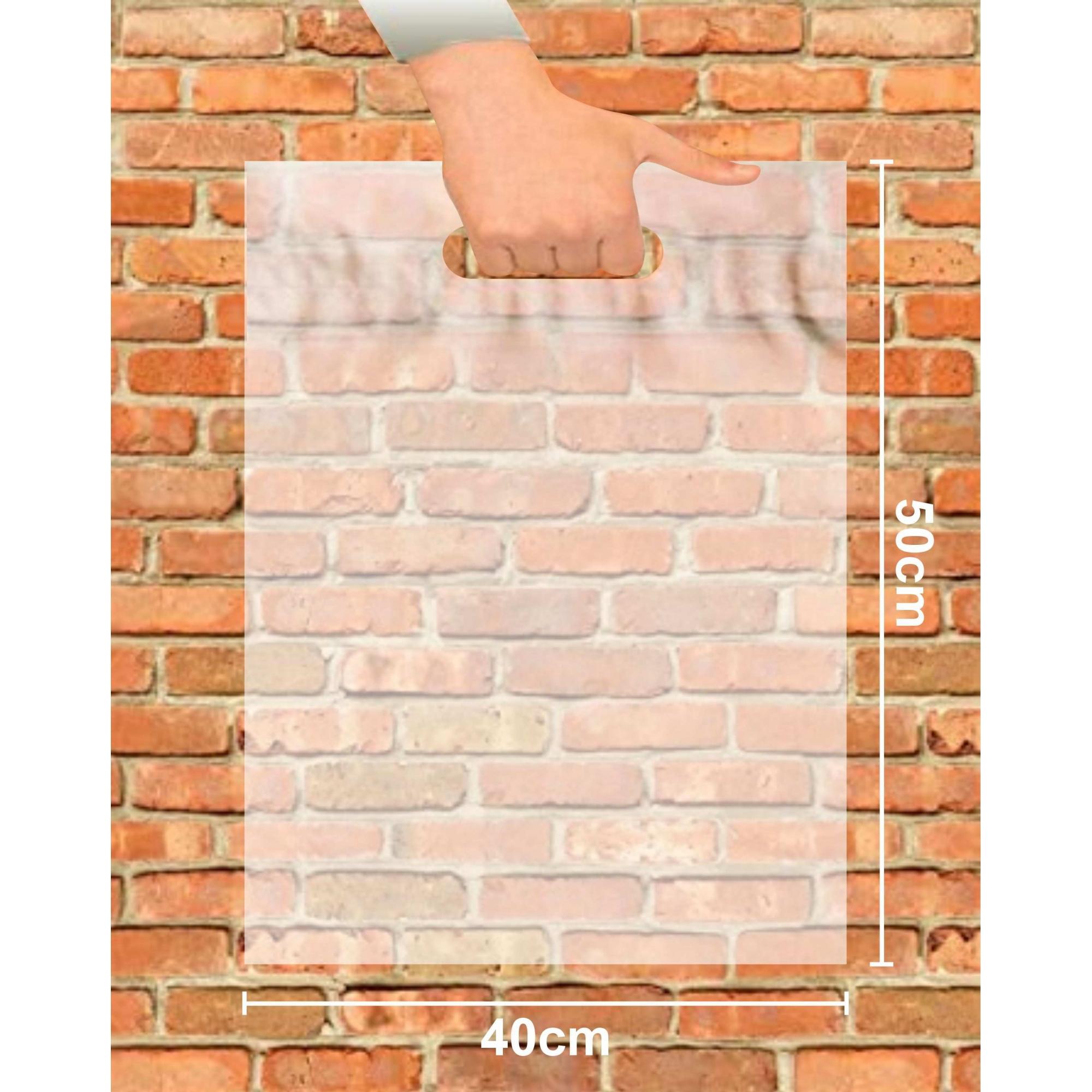 Sacola Plástica 40x50 Transparente Alça Boca de Palhaço 50 Unidades