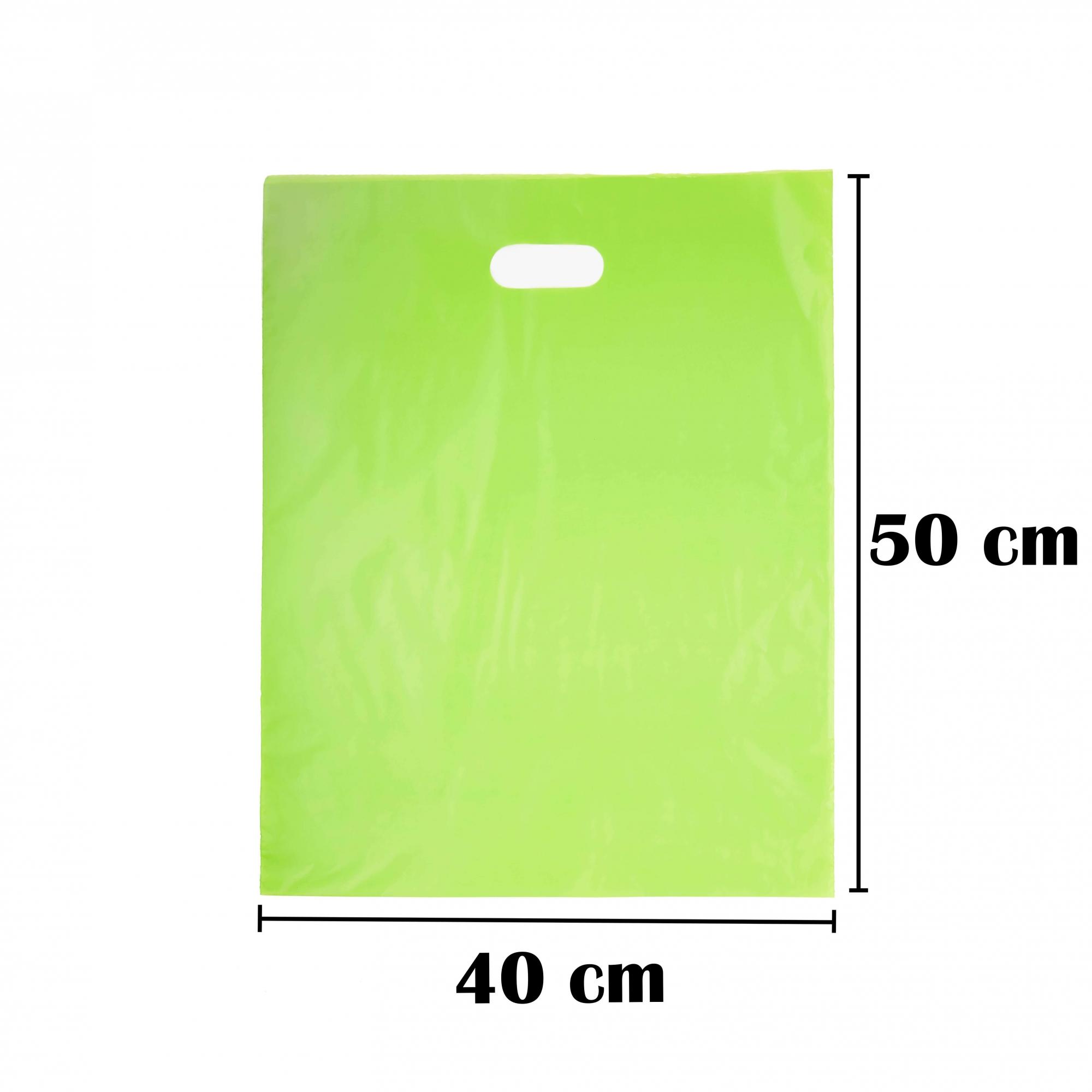 Sacola Plástica 40x50 Verde Alça Boca de Palhaço 50 Unidades