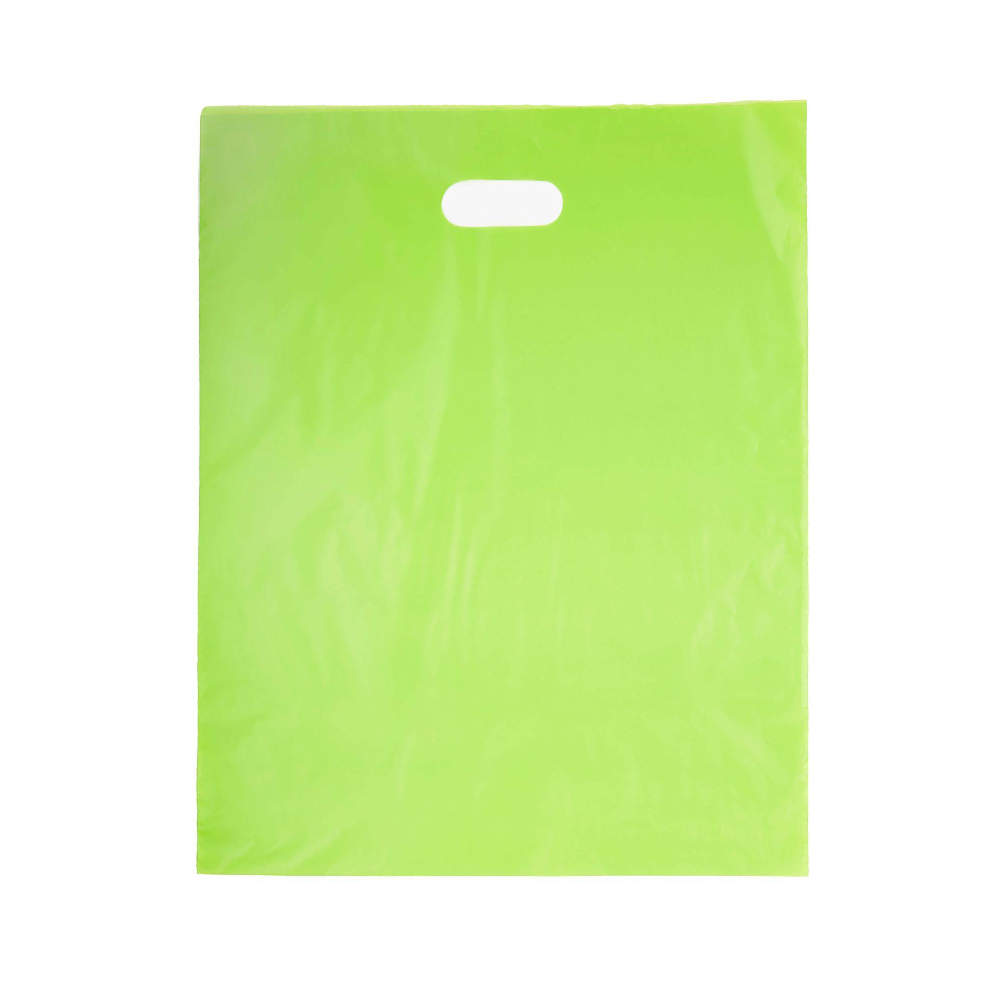 Sacola Plástica 40x50 Verde - Alça Boca de Palhaço