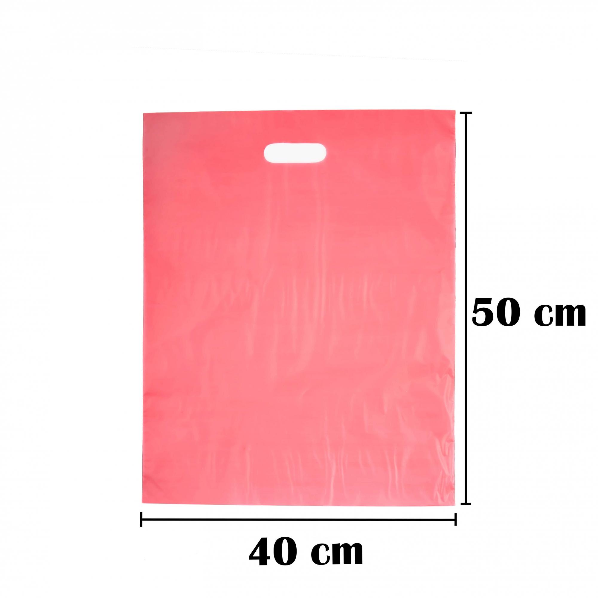 Sacola Plástica 40x50 Vermelha Alça Boca de Palhaço 50 Unidades