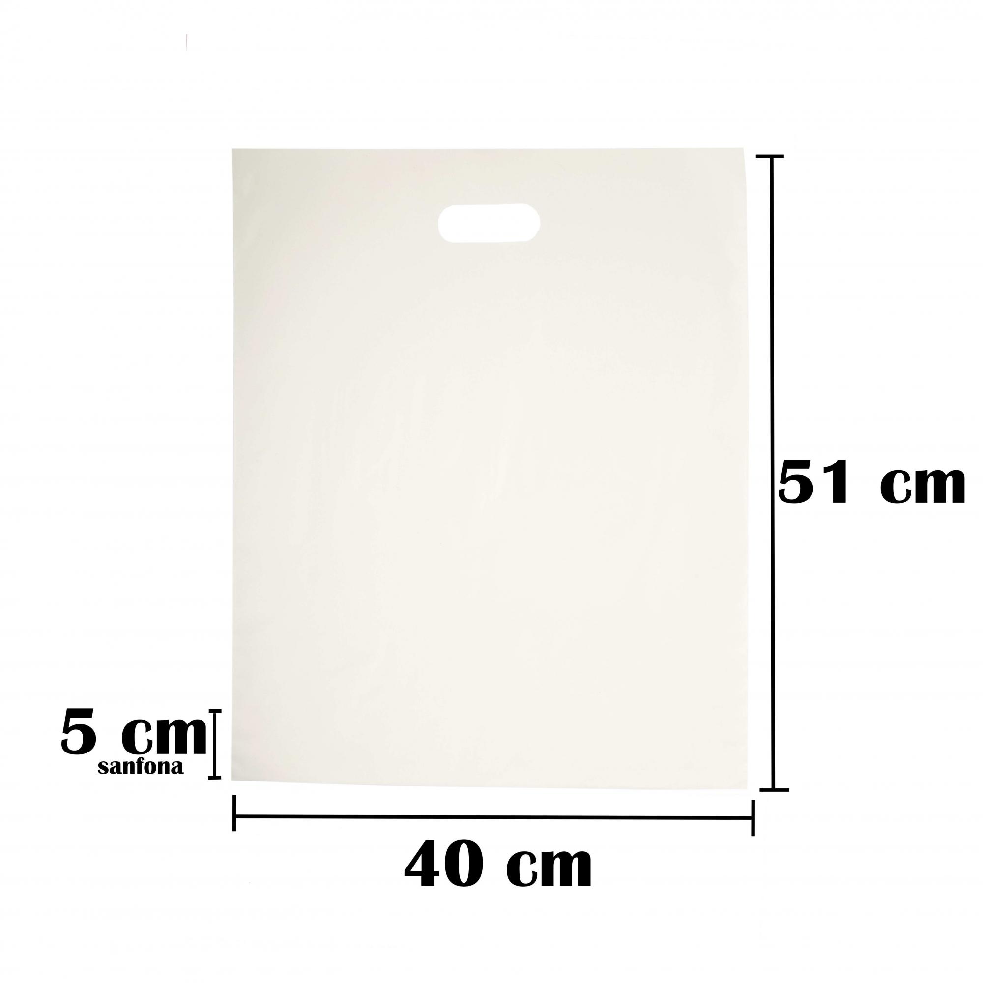 Sacola Plástica 40x56 Branca Com Brilho Alça Boca de Palhaço 50 Unidades