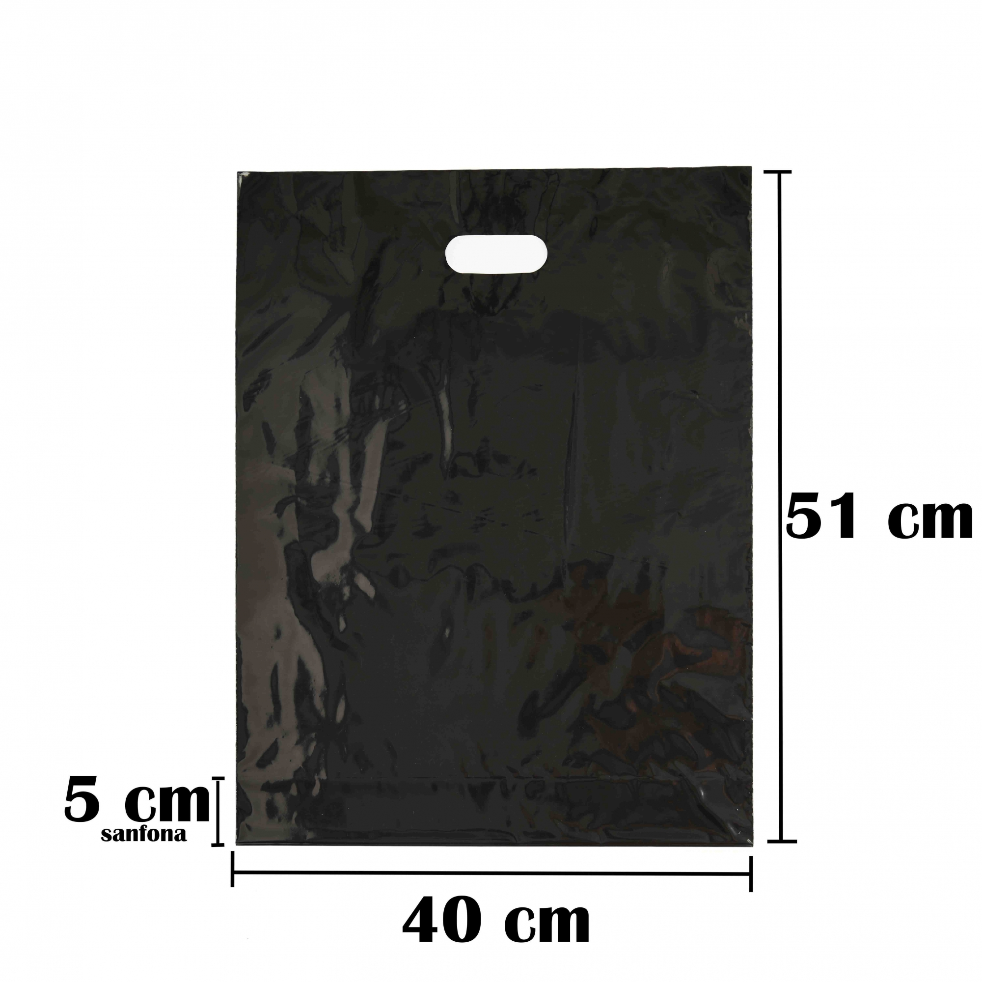 Sacola Plástica 40x56 Preta Com Brilho Alça Boca de Palhaço 250 Unidades