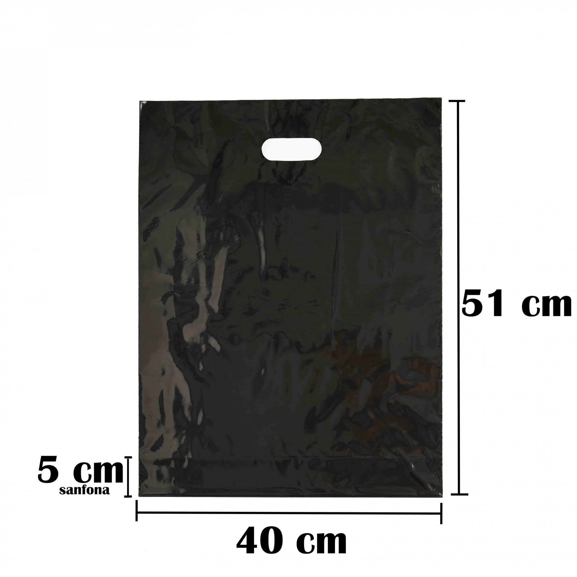 Sacola Plástica 40x56 Preta Com Brilho Alça Boca de Palhaço 50 Unidades
