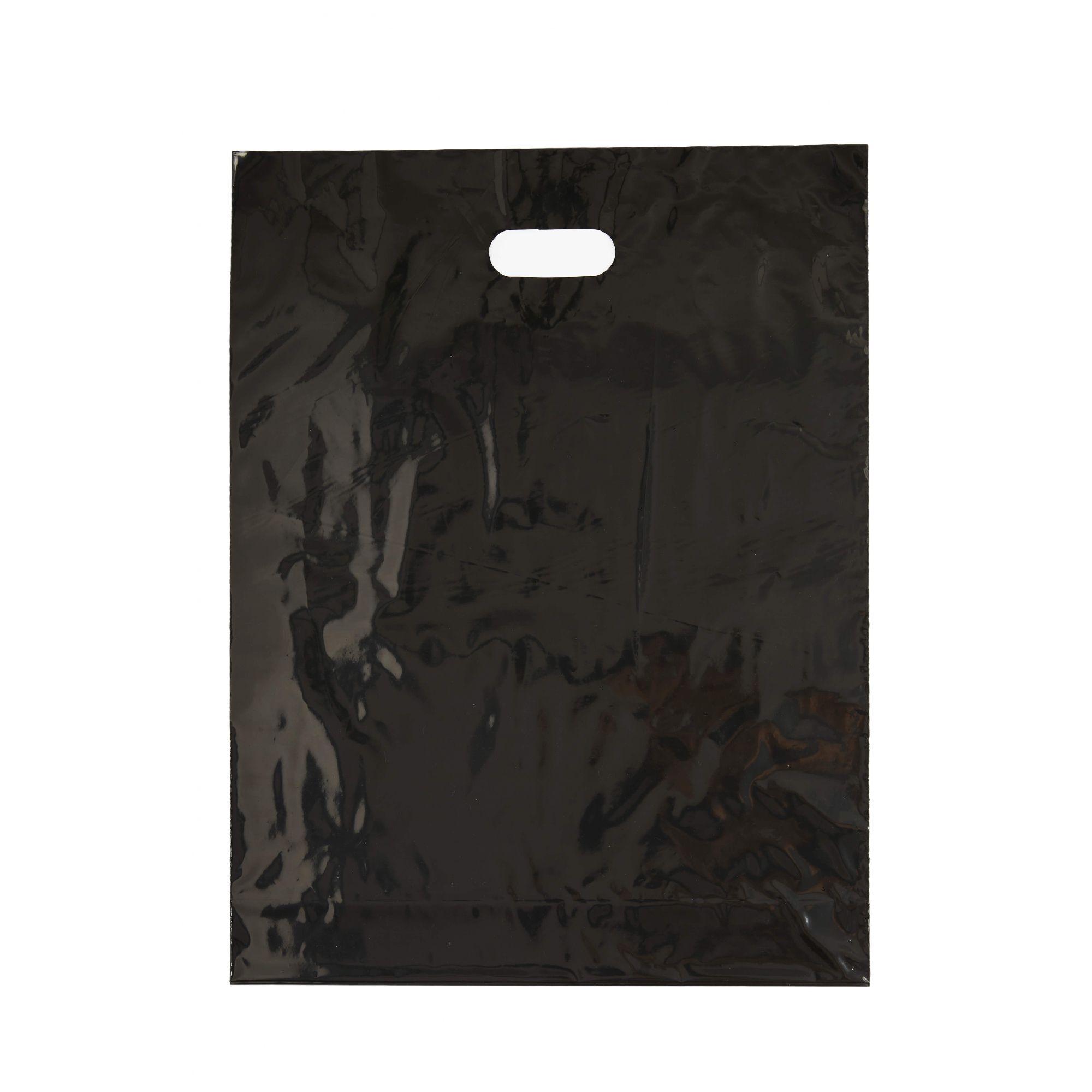 Sacola Plástica 40x56 Preta Com Brilho - Alça Boca de Palhaço
