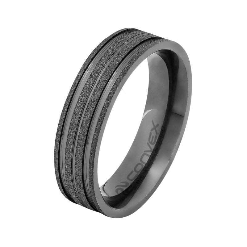 Aliança de Aço Convex de 6mm com Detalhe Fosco