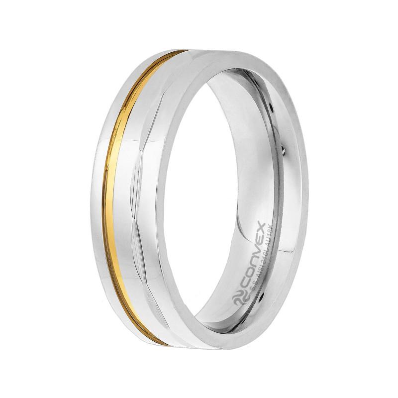 Aliança de Aço Convex de 6mm Com Fio de Ouro