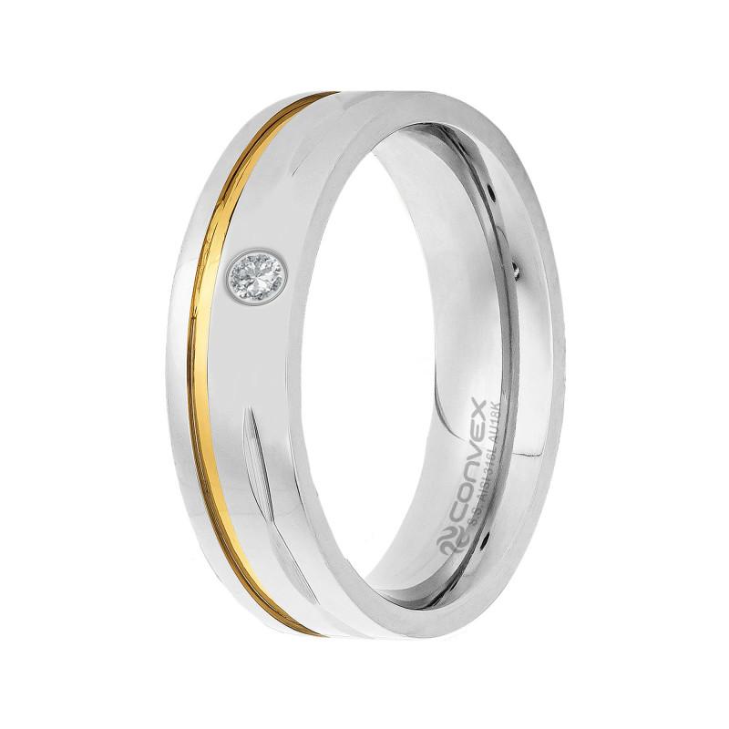 Aliança de Aço Convex de 6mm Com Fio de Ouro e Zircônia