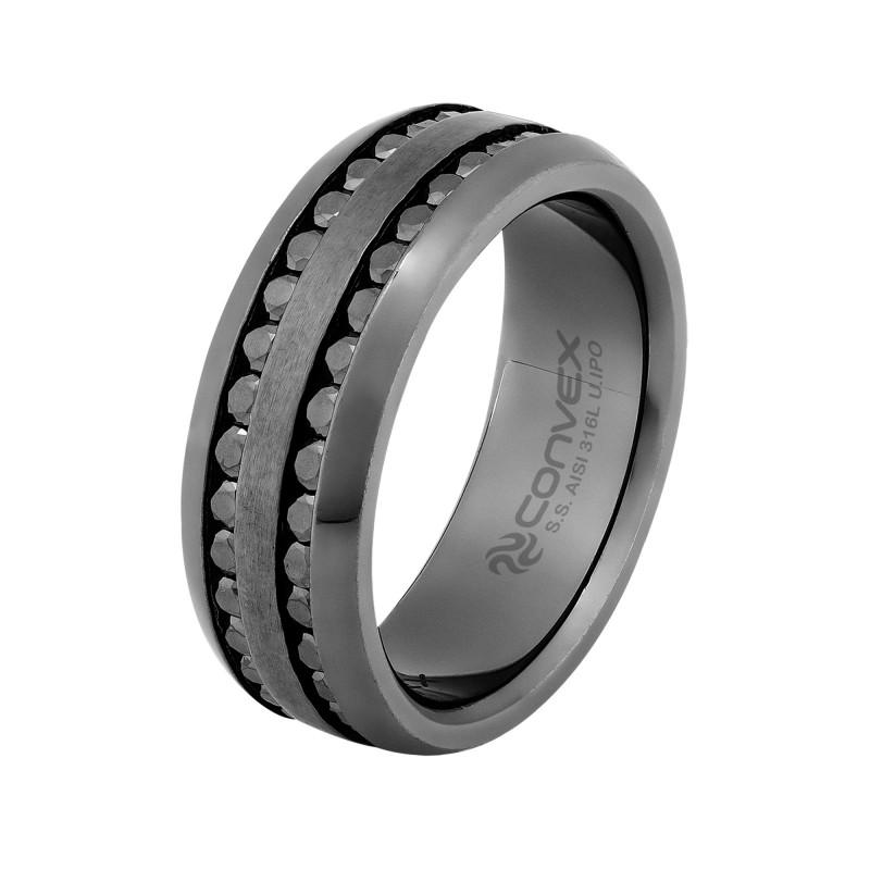 Anel/Aliança de Aço Convex de 8mm com Zircônia