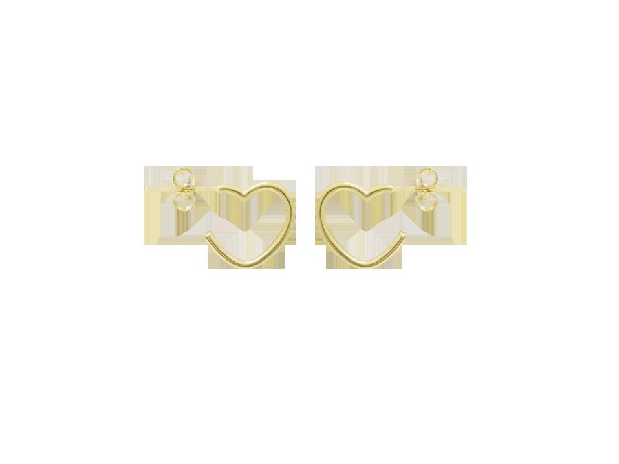 Brinco Bruna Folheado em Ouro 18k Argola Coração Peq