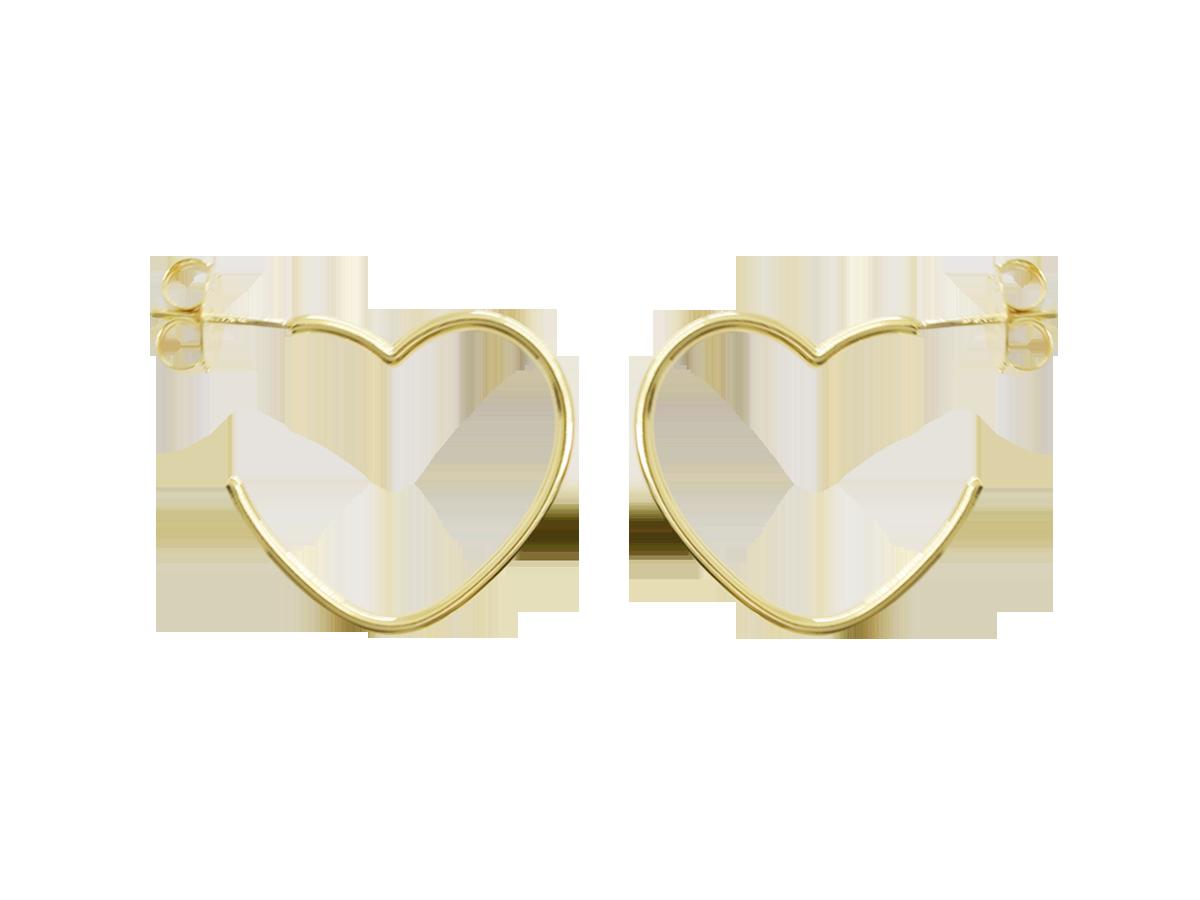 Brinco Bruna Folheado em Ouro 18k Argola Coração Méd