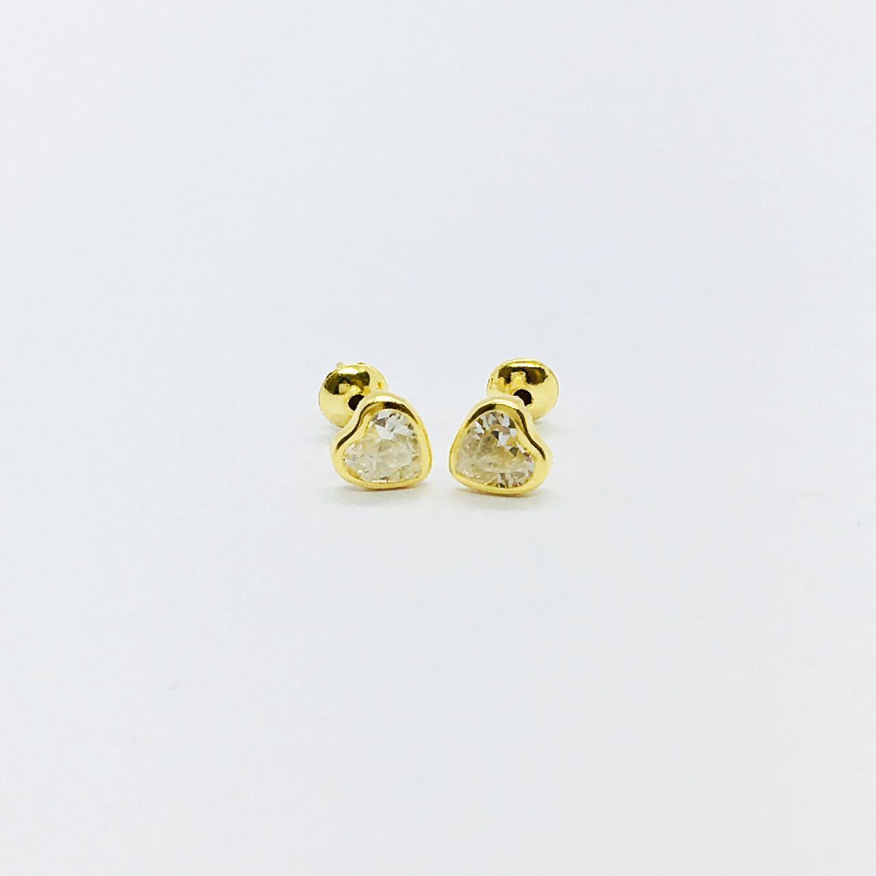 Brinco Ouro 18K Coração Zircônia 5mm