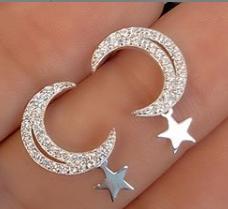 Brinco Prata 925 Lua  Cravejado de Zircônias