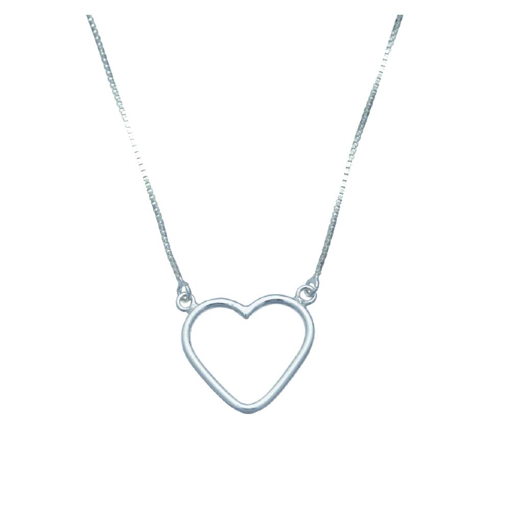 Colar de prata com coração vazado