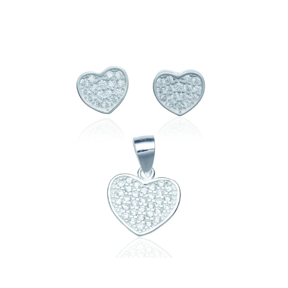 Conjunto de brincos e coração de prata com zircônia