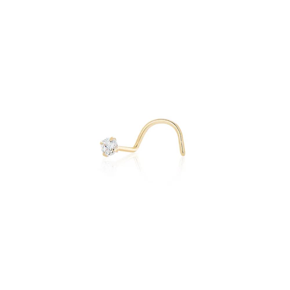Piercing Ouro 18K Com Zircônia  Nariz/Orelha