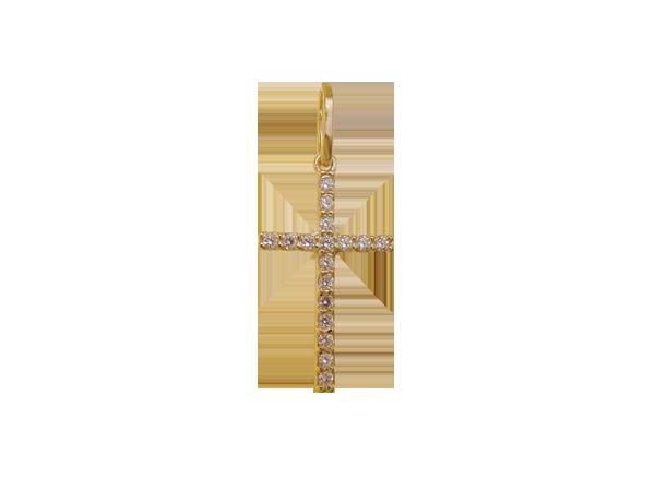 Pingente Bruna Folheado em Ouro 18k  Cruz Com Zircônia