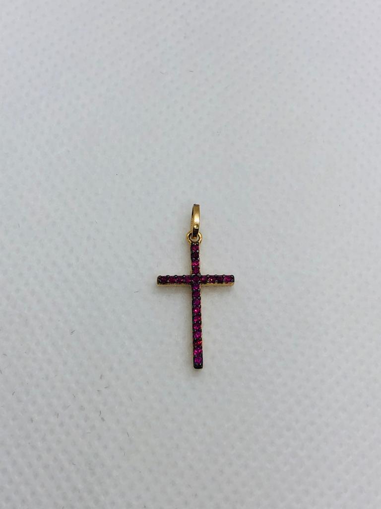 Pingente Ouro 18K Cruz Com Zircônia