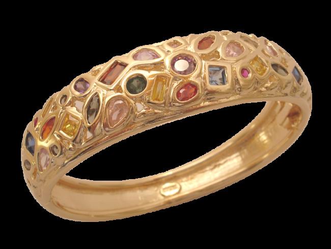 Pulseira  Bracelete Bruna Folheado em Ouro 18k  Com Zircônias Coloridas