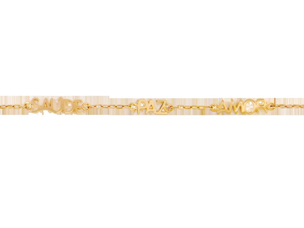 Pulseira Bruna Folheado em Ouro 18k Saude Paz e Amor