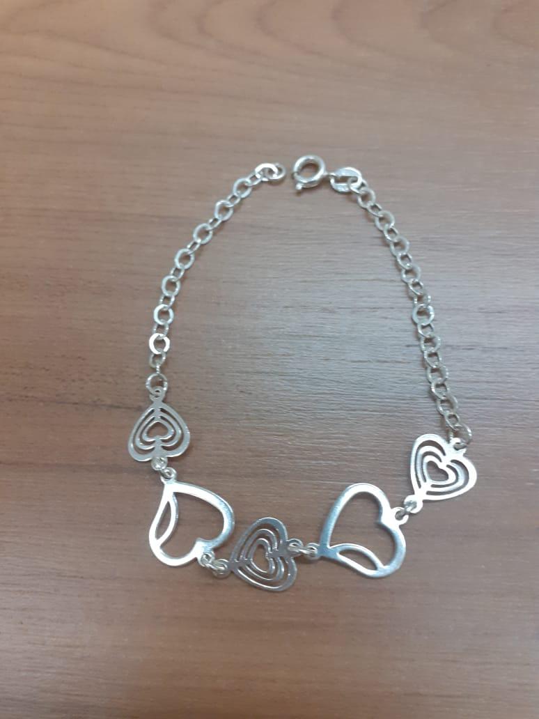 Pulseira Coração Vazado Prata 925 18cm