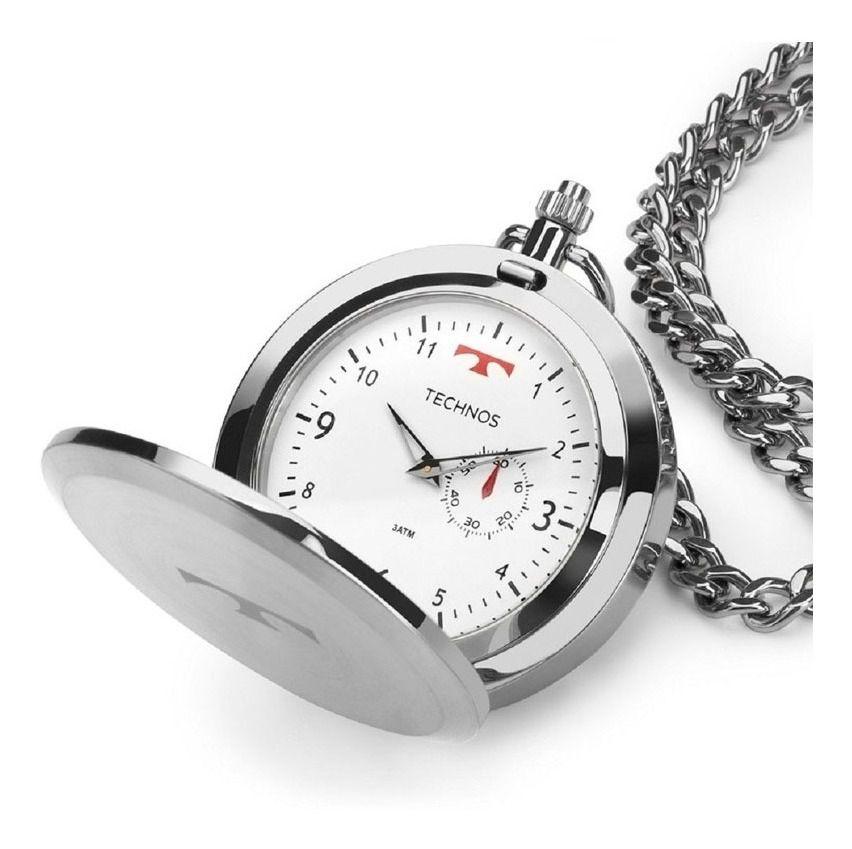 Relógio de Bolso Technos Prata  1L45BA1B